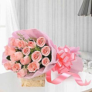 Blushing Love- 15 Pink Roses Bouquet: Wedding Gifts Bikaner