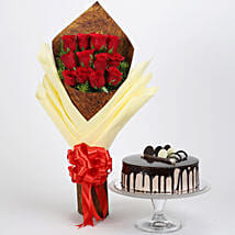 Bouquet of 12 Red Roses & Chocolate Cake: Valentines Day Flowers & Cakes
