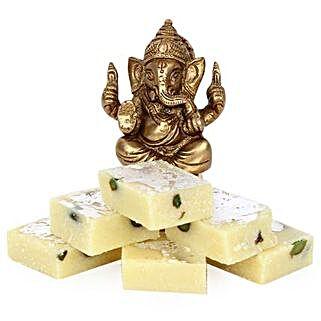 Brass Ganesha With Pista Burfi: Diwali Sweets Amritsar
