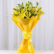 Bright Yellow Asiatic Lilies: Valentine Flowers Gandhinagar