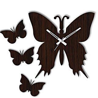 Butterfly Brown Wall Clock: Wall-Clocks
