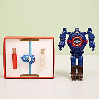 Captain America Transformer Watch & Rakhi Combo: Send Rakhi for Kids