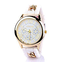 Chained White Silicone Watch For Women: Watches
