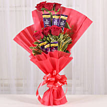 Chocolate Rose Bouquet: Send Personalised Photo Frames - Rakhi