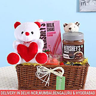 Chocolatey Love Cute Gift Basket: Anniversary Gift Baskets