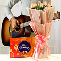 Chocolatey Tunes & Pink Roses Combo: Flowers & Guitarist Service