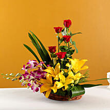 Colourful Blooms Basket Arrangement: Diwali Gifts Ludhiana