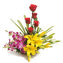 Colourful Blooms Basket Arrangement: Send Lilies for Him
