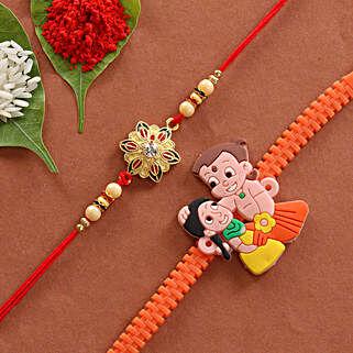 Combo of Cartoon & Floral Designer Rakhi: Rakhi Gifts for Brother
