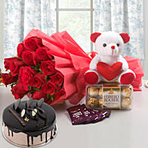 Win Her Heart Love Combo With Chocolate Cake: Flowers & Chocolates for Birthday