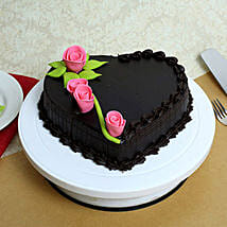 Creamy Heart Truffle Cake: