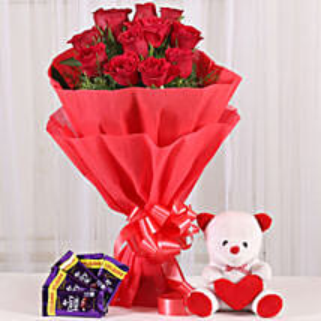 Cuddly & Chocolatey Affair- 12 Red Roses: Flowers & Teddy Bears