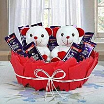 Chocolatey Basket of Teddy Bears: Gift Baskets for Mothers Day