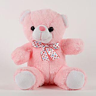 Cute Pink Sitting Teddy Bear: Valentines Day Soft toys