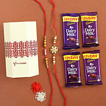 Dairy Milk & Designer Rakhi Set of 2: Raksha Bandhan Chocolates