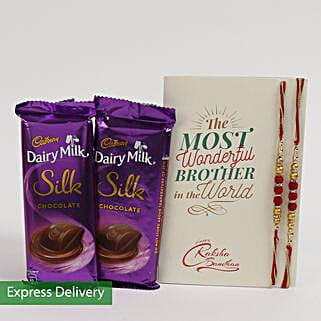 Dairy Milk Silk & Rakhi Combo For Bro: Flowers & Chocolates for Rakhi