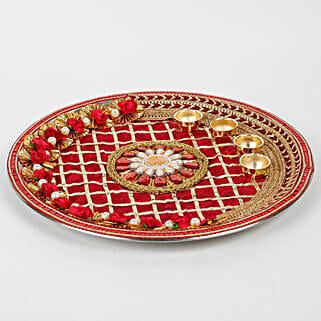 Decorative Karwa Chauth Maroon Steel Thali: Pooja Thali