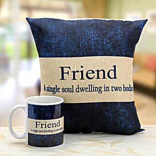Denim print mug and cushion: Friendship Day Gifts Delhi