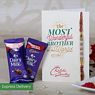 Designer Rakhi & 2 Dairy Milk Chocolates: Rakhi with Chocolates