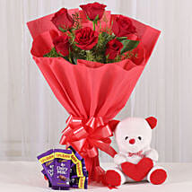 Rosy Love Affair- Teddy Bear & Chocolates: Send Chocolates to Gurgaon