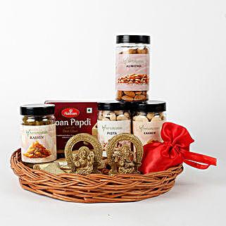 Dry Fruits Idols & Chocolates Basket Hamper: Diwali Sweets & Dry Fruits