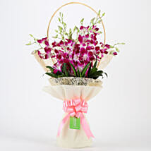 Elegant Purple Orchids Bouquet: Republic Day Flowers Delivery