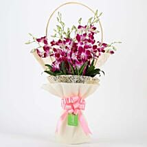 Elegant Purple Orchids Bouquet: Send Orchids
