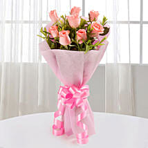 Endearing Pink Roses Bouquet: Send Valentine Flowers to Gurgaon