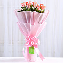 Endearing Pink Roses Bouquet: Send Valentine Roses for Girlfriend