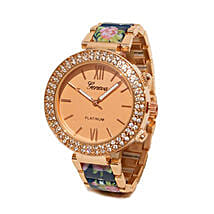 Floral Blue N rose gold Watch For Women: Buy Watches