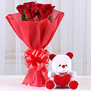 Red Roses Bouquet & Teddy Bear Combo: Flowers & Teddy Bears
