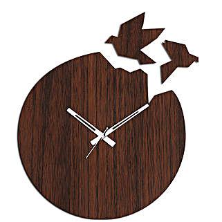 Flying Birds Brown Wall Clock: Wall-Clock Gifts
