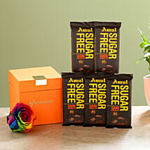 Forever Rainbow Rose & Sugar Free Amul Chocolates: Flower Delivery in Sitapur