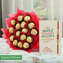 Gorgeous Rocher Bouquet And Rakhi: Send Flowers & Cards
