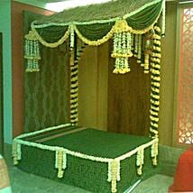 Green Floral Bed Decoration: Janmashtami Gifts
