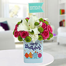 Happy Birthday Mixed Flowers Arrangement: