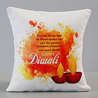 Happy Diwali Greetings Cushion: Send Diwali Gifts for Her