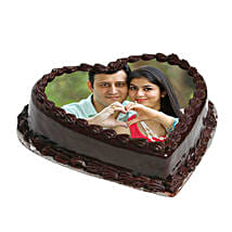 Heart Shape Photo Chocolate Cake: Send Chocolate Cakes