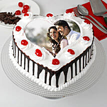 Heart Shaped Black Forest Photo Cake: Send Photo Cakes