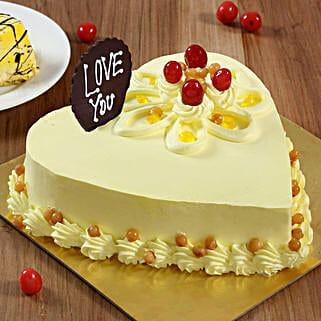 Heart Shaped Butterscotch Cake: Send Butterscotch Cakes