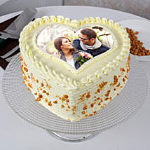 Heart Shaped Butterscotch Photo Cake: Photo Cakes