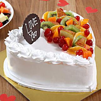 Heart Shaped Vanilla Fruit Cake: Birthday Fresh Fruit-cakes