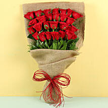 Idyllic Red Roses Bouquet: Send Flower Bouquets