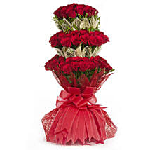 3 Layer Red Roses Bouquet: Send Valentine Gifts for Her