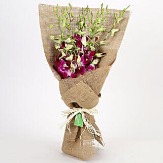 Jute Wrapped 6 Purple Orchids Bunch: Send Orchids
