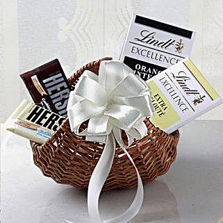 Lindt Chocolates Cane Basket Hamper: Send Gift Hampers for Kids