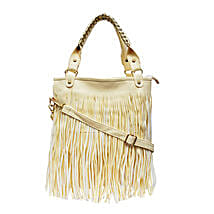 Long Fringe Beige Tote: Buy Handbags