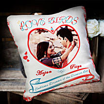 Love Birds Personalized Cushion: Personalised Cushions for Husband