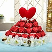 Red Heart Chocolates Arrangement: Womens Day Gifts for Sister