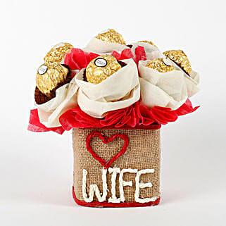 Love Wife Ferrero Rocher Chocolates Vase Arrangement: Karwa Chauth Gifts for Wife India